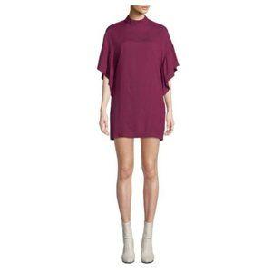 IRO Theifya Cape Sleeve Mock Neck Shift Dress 40